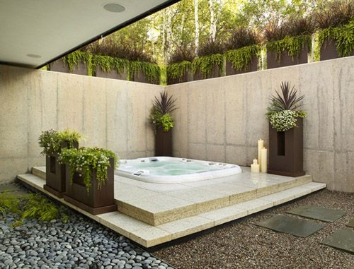 Pin by teresa valencia on design pinterest for Outdoor spa decorating ideas