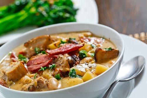 Porchetta Chowder-- a creamy chowder with porchetta, bacon, potatoes ...