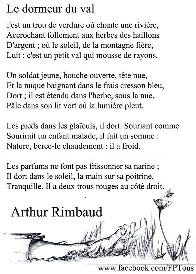 Rimbaud le dormeur du val fran ais po mes pinterest - Dormeur du val rimbaud ...