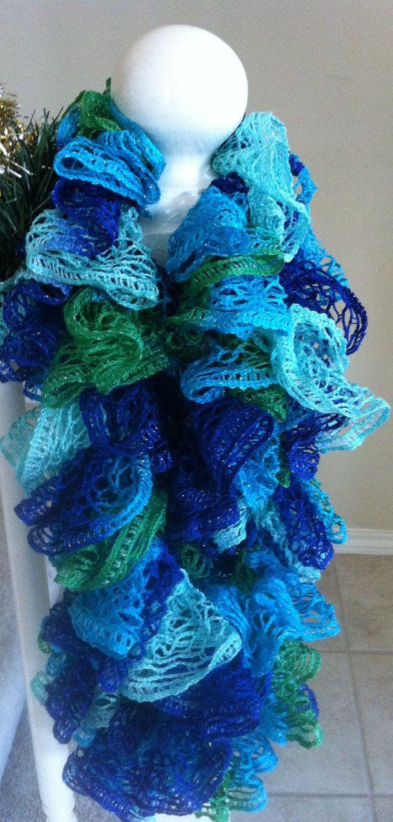 Crocheting Ruffle Scarf : Handmade blue green turquoise crochet ruffle scarf