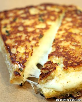 Grilled Mozzarella Sandwiches, served with a side of marinara.   Looks delicious...