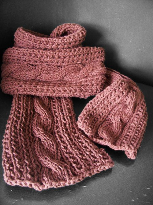 Free Knitting Patterns Scarves Pinterest : Cable Scarf Free Knitting Patterns Pinterest