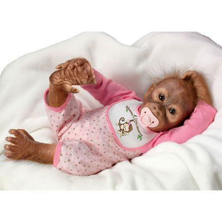 Ashton Drake So Real Leila s Loving Touch Baby Monkey Doll Simian Orangutan   eBay