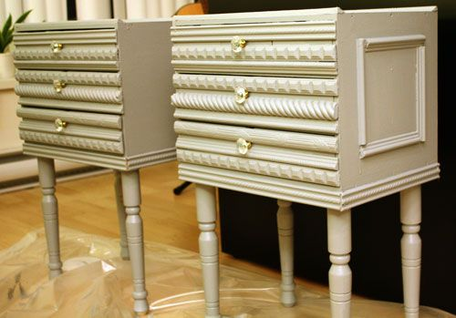 add molding, knobs and a cool paint color to simple nightstands for a vintage feel...