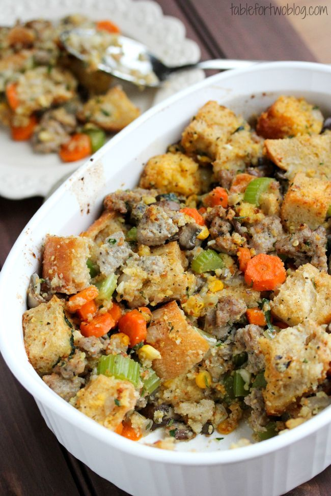 Cornbread and sausage stuffing | Thanksgiving Recipes | Pinterest