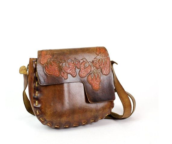 strawberry tooled leather bag 1960s hippie purse by OmniaVTG, $128.00