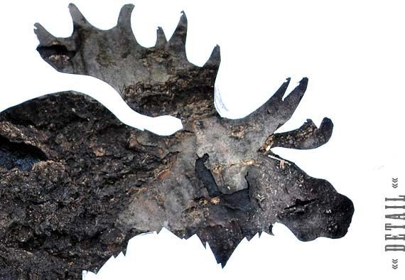 FREE SHIPPING  Moose Silhouette In Bark  Woodland Home by wildpulp, $60.00