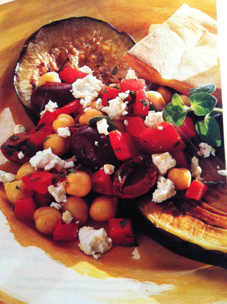 Eggplant Steaks with Salad of Roasted Peppers, Olives, Feta and Garba ...