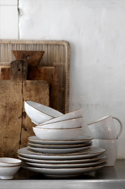 simple gold rimmed dishes.