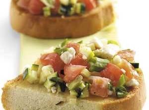 Zucchini Feta Bruschetta Recipe | appetizers | Pinterest
