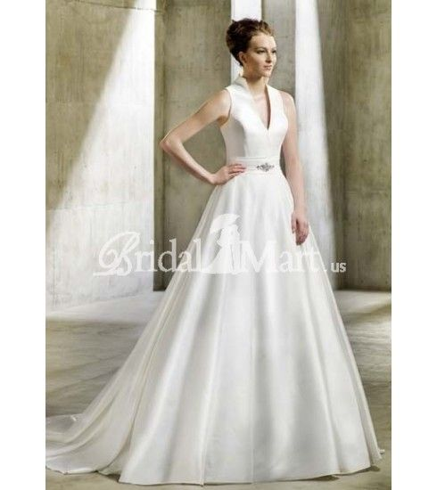 With sexy v neck chapel train taffeta wedding dresses ws 0058 266 89