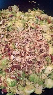Shredded Brussels Sprouts with Bacon and Walnuts | via Angie Frost, RD