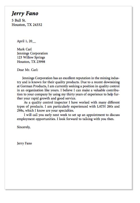 Quality Control Cover Letter 20.07.2017