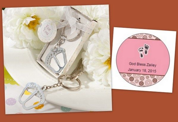 Silver Metal Little Baby Feet Keychain Favors from HotRef.com