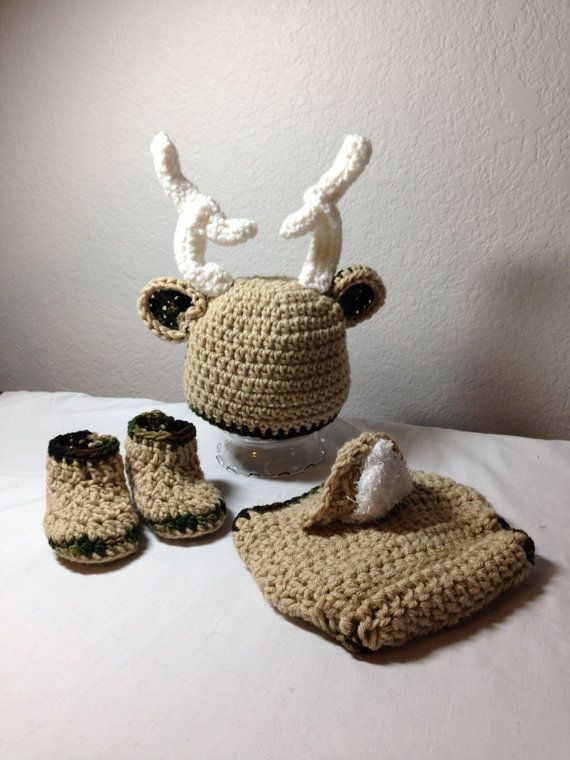 Crochet Newborn Outfits : Crochet NB through 12 mos baby deer outfit camo outfit photography pr ...