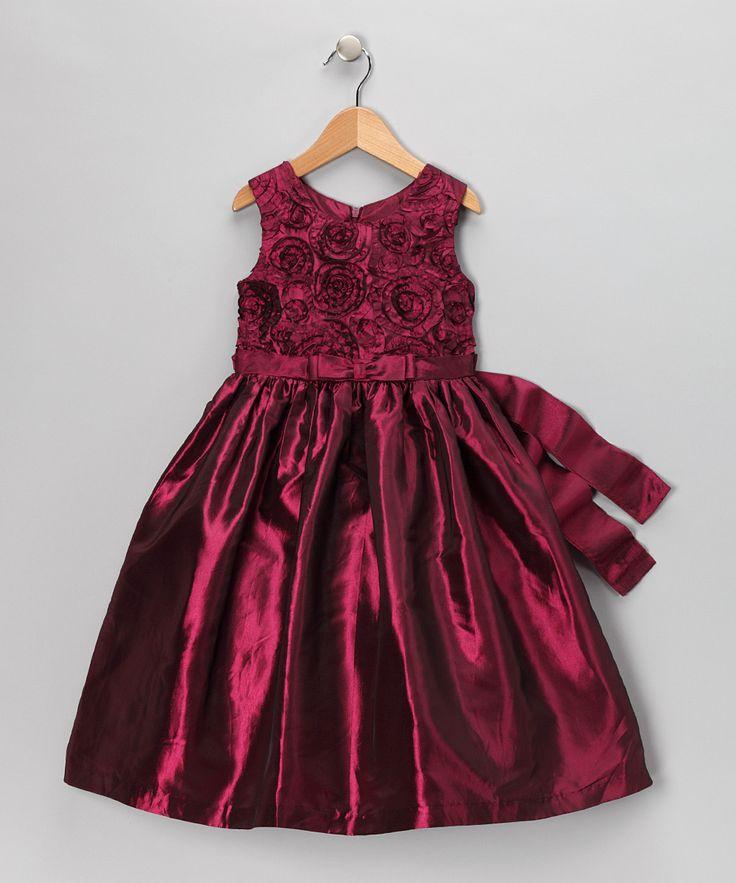 Jayne Copeland Maroon Rosette Dress Infant Toddler Amp Girls