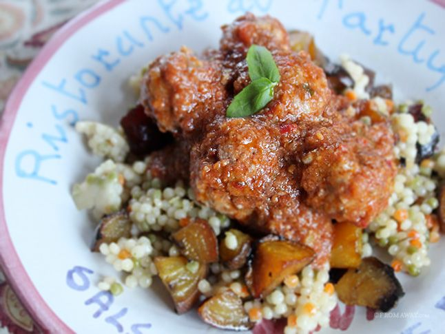 Spicy Lamb Meatballs with Roasted Golden Beets and Moroccan Couscous ...