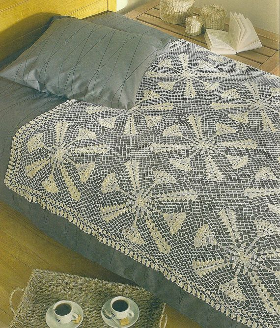 Crochet Bedspread : Crocheted Bedspread-Throw - Morning Coffee