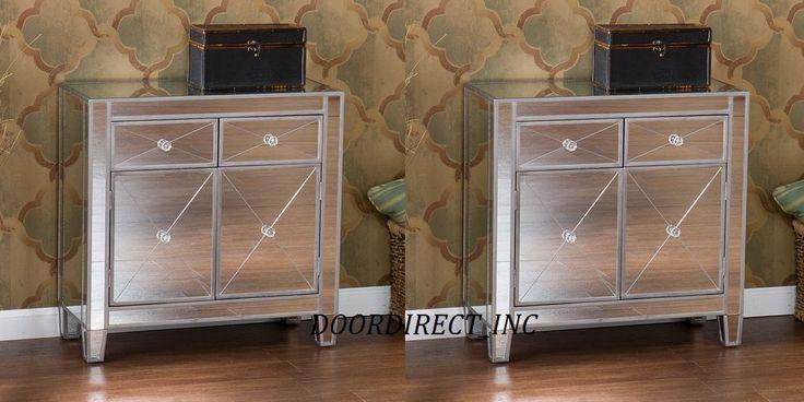 Mirrored Nightstand Canada : ... Glam Mirrored Dresser Bedroom Chest Drawers Furniture Nightstand Decor