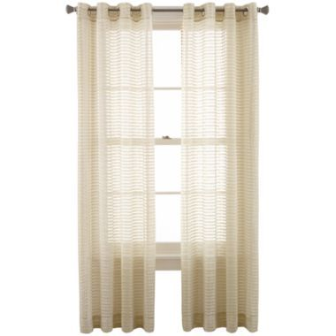 rizzo grommet top sheer curtain panel silver fern jcpenney
