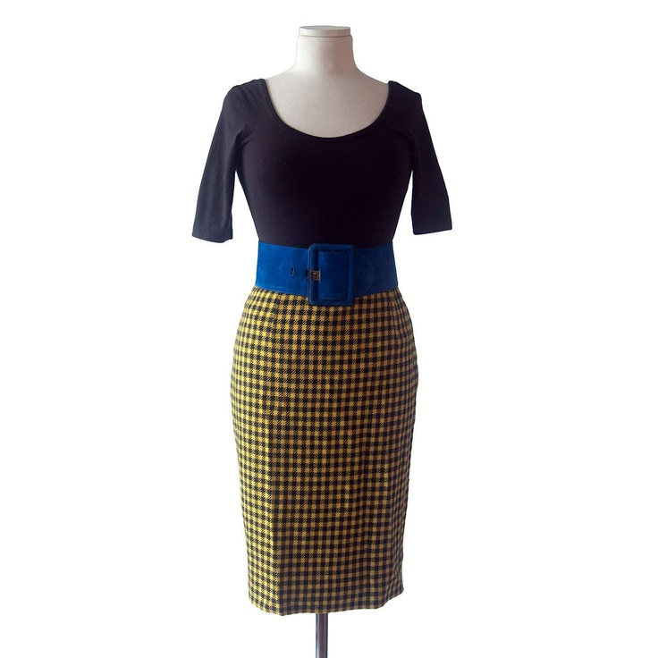 60s houndstooth pencil skirt