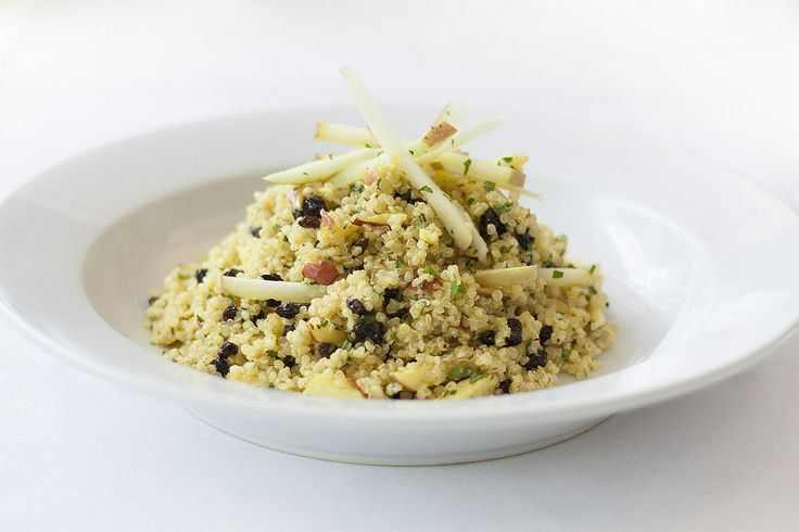 Quinoa Apple Salad: currants and mint in a sweet curry dressing. Sprinkled with toasted slivered almonds. Gluten-free and vegan!