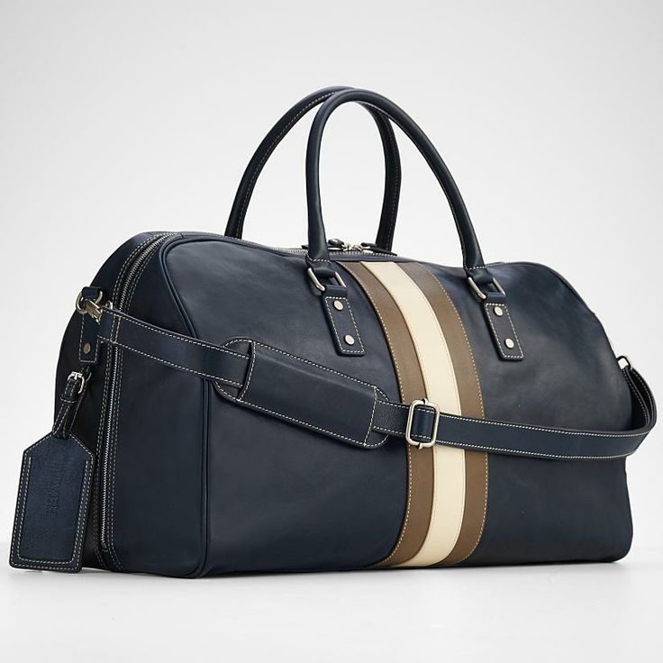 blue leather weekender bag