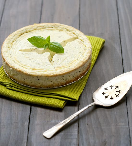 Savory Goat Cheese and Basil Cheesecake. I think I'll throw a party ...