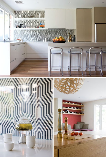 Black and white geometric tiles glass wallpaper patterned splash back kitchen