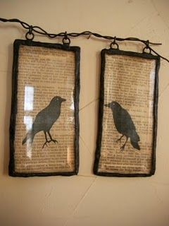 Framed black birds.