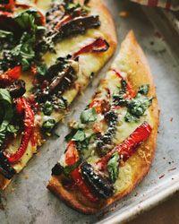 Portobello-Mushroom and Red-Pepper Pizza // More Delicious Pizzas: http://fandw.me/a8o #foodandwine