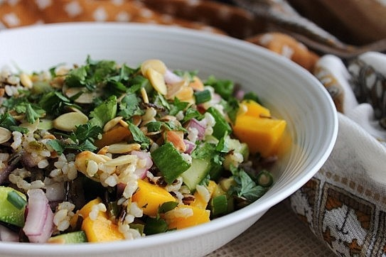 Mango Cucumber Wild Rice Salad | salad | Pinterest