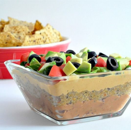 seven layer dip with noocho cheese | Vegan Appetizers | Pinterest