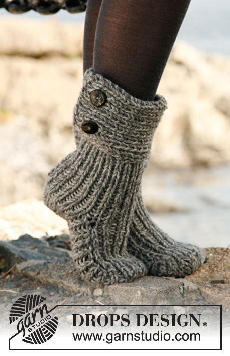 Free Knitting Patterns For Slippers And Socks : Knitted slippers - free pattern Knitting Pinterest