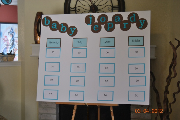 baby jeopardy board tutu baby shower pinterest