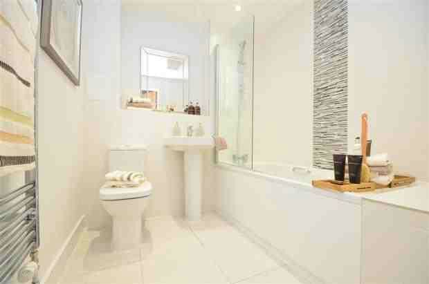 White bathroom with feature tiles bathrooms pinterest