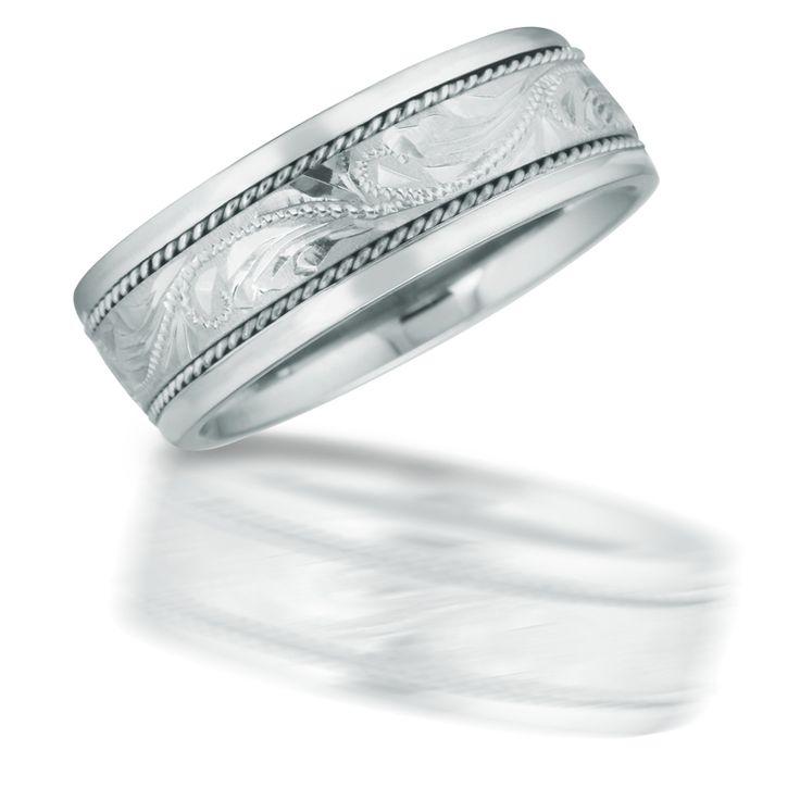 men 39 s antique style 14k white gold wedding band ring - Mens White Gold Wedding Rings