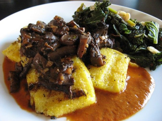Grilled Polenta, Madeira Mushrooms, Spicy Roasted Tomato Sauce