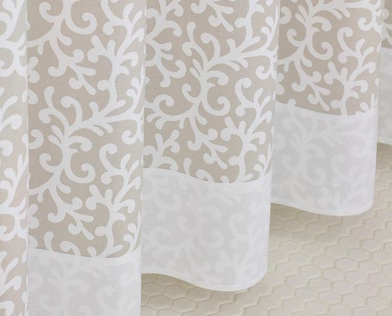 Taupe & White Scroll Shower Curtain 72 x 72