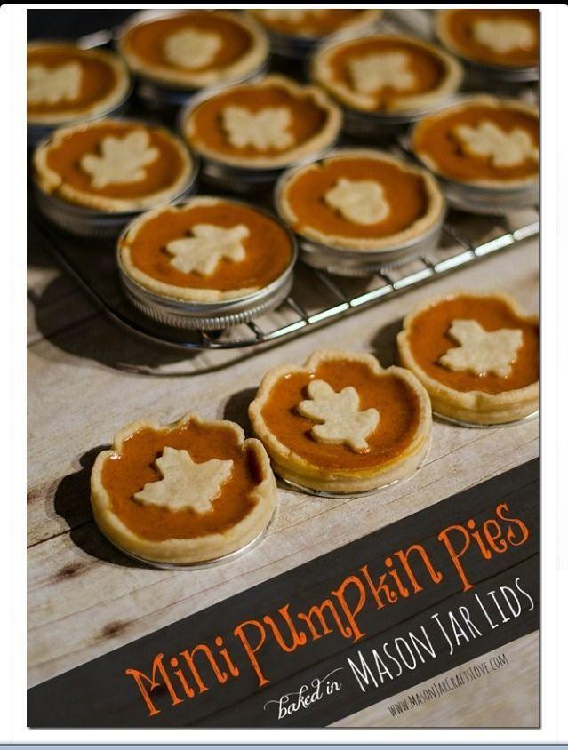 Mini Pumpkin Pies | Yummy Deliciousness!! | Pinterest