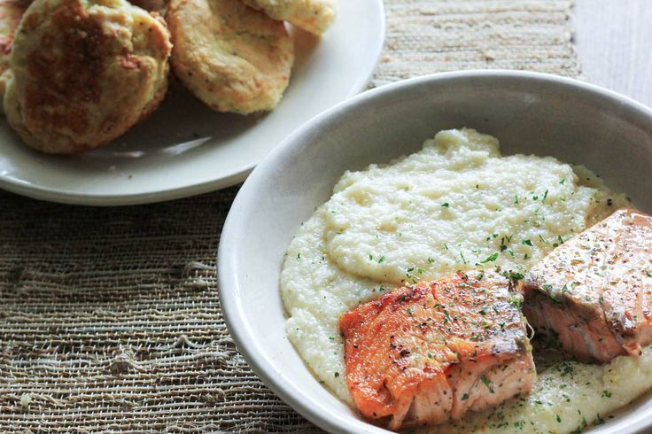 Biscuits Peppercorn Salmon & Cheesy Grits PeachDish #peach #georgia ...