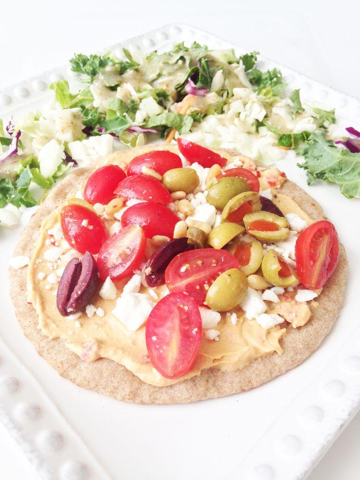 Greek Pita 'Pizza' — The Skinny Fork | Food, glorious food ...