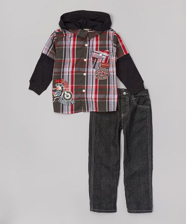 Another great find on #zulily! Red Plaid Hoodie Set - Infant & Toddler