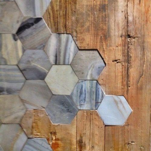 Wood flooring tile mixed design pinterest for Carrelage hexagonal marbre