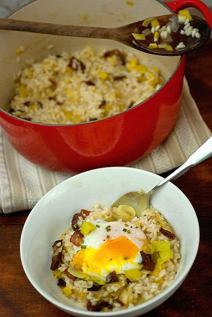 Bacon and Leek Risotto with Poached Eggs by Cheese and Chocolate
