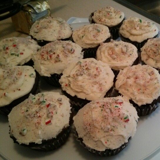 Chocolate cupcakes with peppermint icing