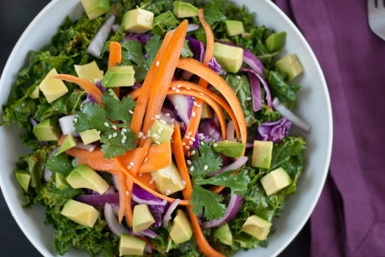 Salad - Ginger dressing over avodado, carrots, cabbage, and cilantro ...