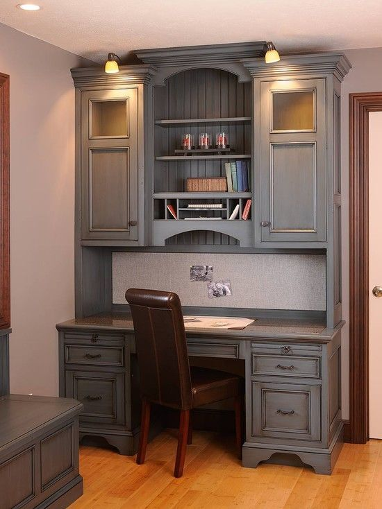 Traditional Home Office Built In Desk Design Pictures