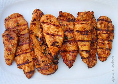 Asian Grilled Chicken Recipe  Gina's Weight Watcher Recipes  Servings: 3 • Size: 2 cutlets • Old Points: 6 pts • Points+: 6 pts  Calories: 295.9 • Fat: 6.1 • Carbs: 11.4 • Fiber: 1.3 • Protein: 39.9  6 thin boneless skinless chicken cutlets (3 oz each)