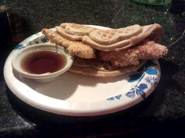 spicy crispy chicken beer batter waffle sandwich with a spicy maple ...